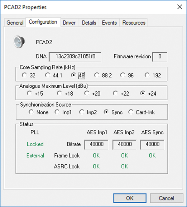 PC-AD2 Properties/Configuration Page